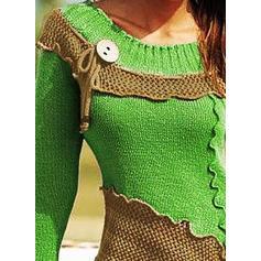 Bloc de culori Bucată tricotată Guler Rotund Kazaklar
