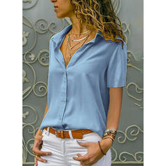Sólido Solapa Manga corta Con Botones Casual Elegante Blusas