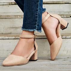 婦人向け PU チャンクヒール ポンプ かかと とともに バックル ソリッドカラー 靴