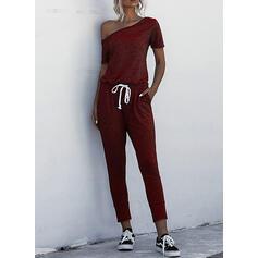 Solid One Shoulder Short Sleeves Casual Jumpsuit
