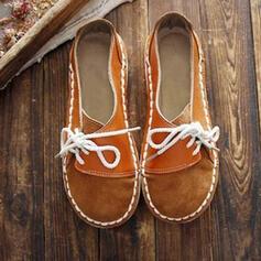 De mujer PU Tacón plano Planos Punta cuadrada con Cordones zapatos
