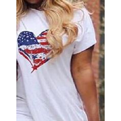 Impresión/Corazón Manga Corta Ajustado Asimétrico Casual Camiseta Vestidos