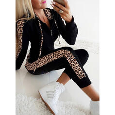 Capucha Manga Larga Leopardo Leopardo Conjuntos de top y pantalones