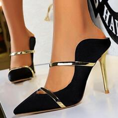婦人向け サテン スティレットヒール ポンプ かかと とともに スプライスカラー 靴