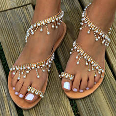 Women's Leatherette Flat Heel Sandals Flats Peep Toe Slingbacks Toe Ring With Imitation Pearl Chain shoes