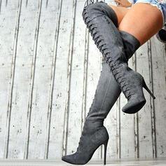 Vrouwen Suede Stiletto Heel Over De Knie Laarzen Puntige teen met Rits Vastrijgen schoenen
