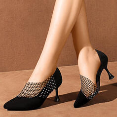 Γυναίκες PU Ψηλό τακούνι Γοβάκια Μυτερά toe Με Τεχνητό διαμάντι παπούτσια