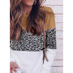 Blocchi di colore leopardo Girocollo Maniche lunghe Casuale Maglietta