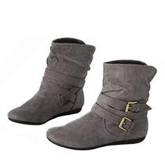 De mujer Cuero Tacón plano Planos Botas Botas al tobillo con Hebilla zapatos