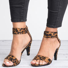 Pentru Femei Ţesătură Toc jos Sandale cu Fermoar pantofi