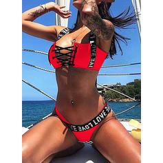 Enfärgad Neon Rem Elegant bikini Badkläder