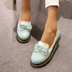 Frauen PU Niederiger Absatz Flache Schuhe mit Bowknot Schuhe