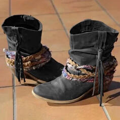 Women's Leatherette Chunky Heel Mid-Calf Boots Pointed Toe With Lace-up shoes