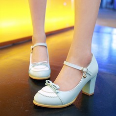 De mujer Cuero Tacón ancho Salón Cerrados Mary Jane con Bowknot zapatos