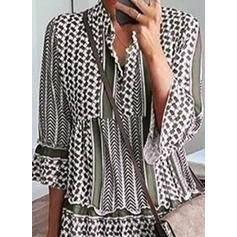 Print 3/4 Sleeves Shift Above Knee Casual Dresses