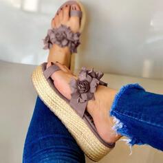 De mujer Cuero Tacón plano Sandalias Pantuflas con Flor zapatos