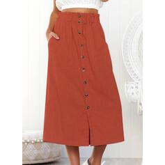 Bavlněné směsi Jednobarevný Maxi Skládané sukně