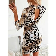 Leopard Långa ärmar Åtsittande Ovanför knä Fritids/Elegant Klänningar