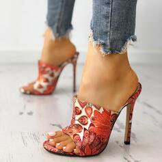 De mujer PU Tacón stilettos Sandalias Encaje Pantuflas zapatos