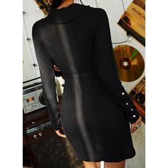 Düz / Tek (Renk) Křídový krk Neformální Dlouhé Svetrové šaty