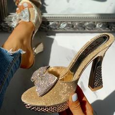 Women's PU Chunky Heel Sandals Peep Toe Slippers With Rhinestone Bowknot shoes