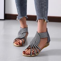 De mujer PU Tacón plano Encaje Pantuflas con Crystal Color sólido zapatos