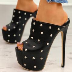 Kvinnor PU Stilettklack Pumps Plattform Peep Toe med Nita Ihåliga ut skor