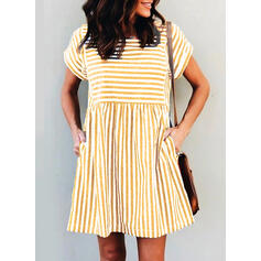 Striped Short Sleeves Shift Above Knee Casual Tunic Dresses