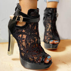 Dla kobiet Tkanina mesh Obcas Stiletto Czólenka Otwarty Nosek Buta Z Kokarda Tkanina Wypalana obuwie