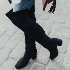 Dámské Semiš Široký podpatek Kozačky nad kolena S Nabírané Zip Solid Color obuv
