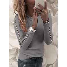 Solid Round Neck Long Sleeves Casual Knit Blouses