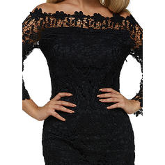 Lace/Solid 3/4 Sleeves Bodycon Knee Length Little Black/Casual/Party Dresses
