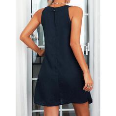 スパンコール/固体 ノースリーブ シフトドレス 膝上 エレガント ドレス