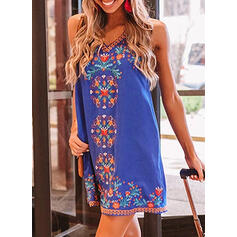 Print/Floral Sleeveless Shift Above Knee Casual/Boho/Vacation Tank Dresses