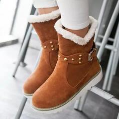 Donna Camoscio Senza tacco Stivali da neve Punta rotonda Stivali invernali con Rivet Fibbia scarpe