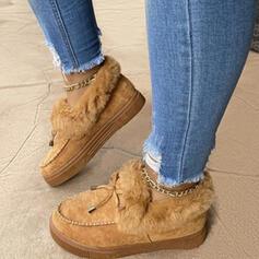 Vrouwen Suede Kunstleer Flat Heel Enkel Laarzen Snowboots Lage top Winterlaarzen met Vastrijgen Bont schoenen