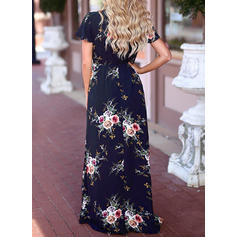 Print/Floral Short Sleeves A-line Casual/Elegant/Vacation Maxi Dresses