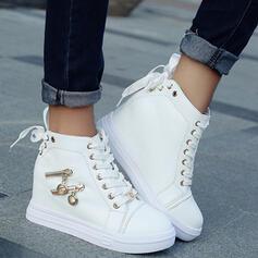 Pentru Femei Imitaţie de Piele Platforme Înalte Închis la vârf Cizme Top sus Deget rotund cu Fermoar Lace-up pantofi