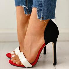 De mujer PU Tacón stilettos Salón Encaje Solo correa con Color de empalme zapatos
