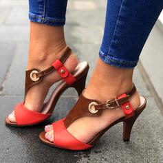 Women's PU Stiletto Heel Sandals Pumps Peep Toe Heels With Buckle shoes
