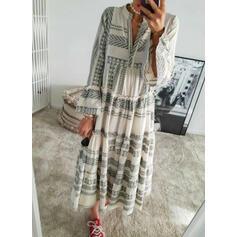 Nadrukowana Długie rękawy/Rozkloszowane rękawy Koktajlowa Casual/Wakacyjna Maxi Sukienki