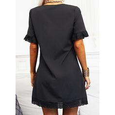 レース/固体 1/2袖 シフトドレス 膝上 リトルブラックドレス/カジュアル チュニック ドレス