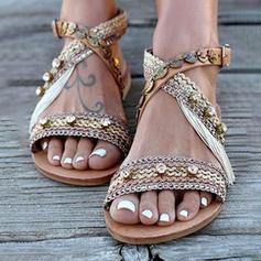 De mujer Cuero Tejido Tacón plano Sandalias con Otros zapatos