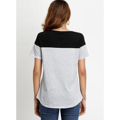 Pruhovaný Kulatý Výstřih Krátké rukávy Neformální Bluze