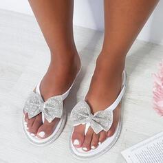 De mujer PU Tacón plano Sandalias Chancletas con Rhinestone Bowknot Agujereado zapatos
