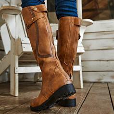 婦人向け PU チャンクヒール ブーツ とともに バックル ソリッドカラー 靴