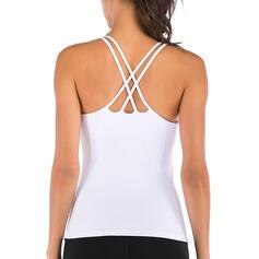 Tirantes espagueti Sin mangas Color sólido Camisetas deportivas