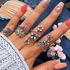 Boho fiori lega Donna Signore Anelli 4 pezzi