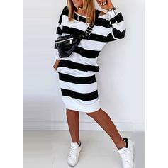 Striped Long Sleeves Sheath Knee Length Casual Dresses