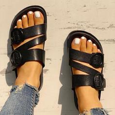 De mujer PU Tacón plano Sandalias Pantuflas con Hebilla zapatos